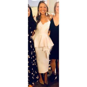 ASOS TALL organza fold peplum midi dress in white